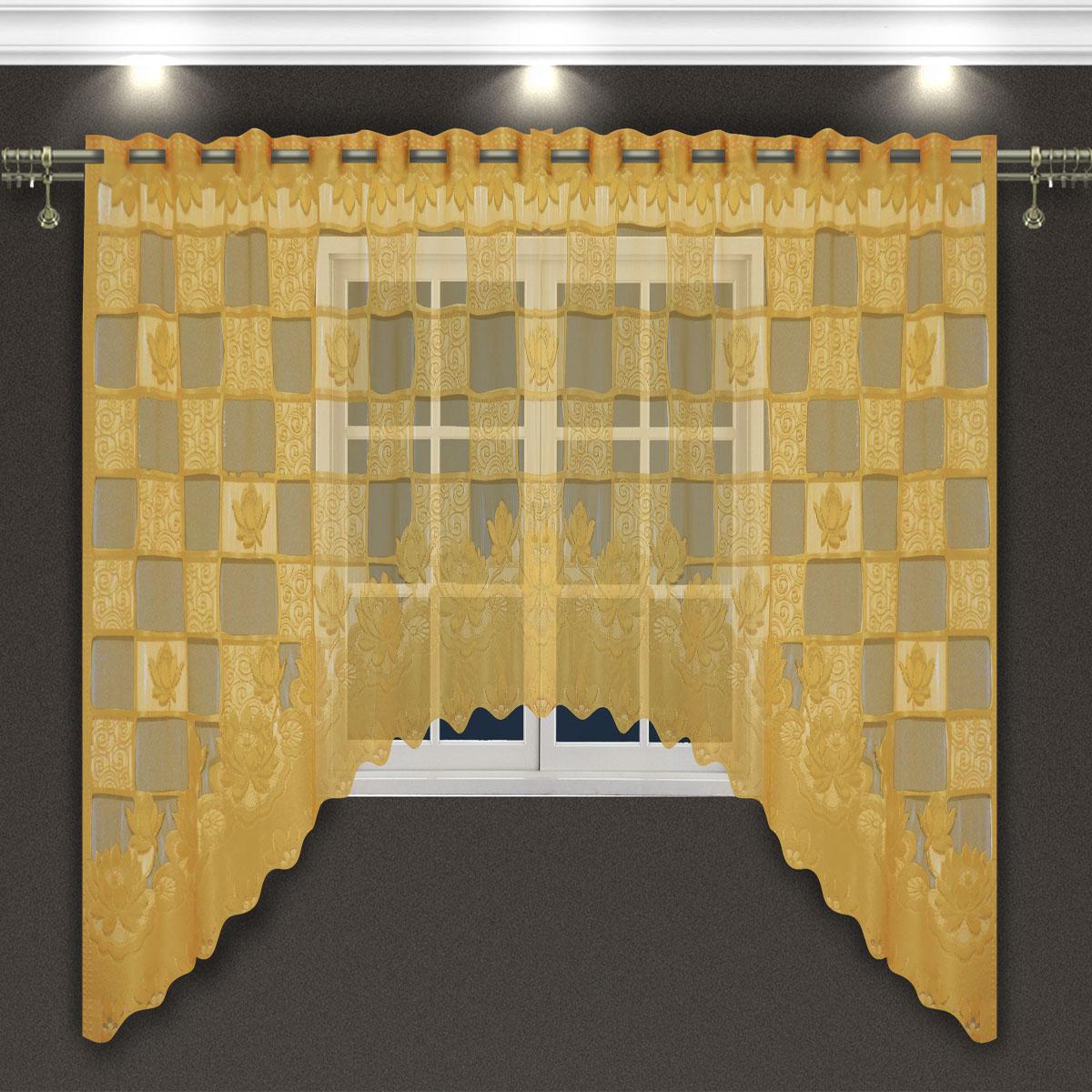 Гардина Zlata Korunka, цвет: золотистый, высота 160 см. 8887188871Гардина-арка Zlata Korunka, изготовленная из высококачественного полиэстера, станет великолепным украшением любого окна. Оригинальное оформление гардины внесет разнообразие и подарит заряд положительного настроения. Крепится через прорези, сделанные в верхней части, или на зажимы для штор.