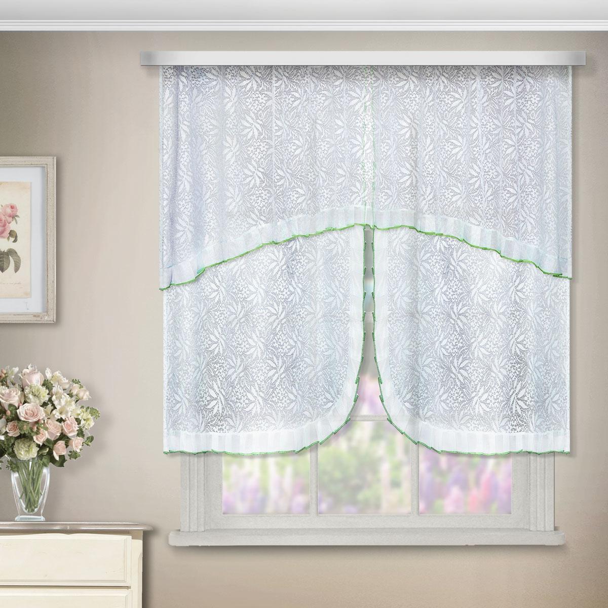 Комплект штор Zlata Korunka, на ленте, цвет: белый, высота 95 см. 8888088880Комплект штор Zlata Korunka, выполненный из полиэстера, великолепно украсит любое окно. Комплект состоит из ламбрекена, двух штор и двух подхватов. Цветочный узор и воздушная текстура привлекут к себе внимание и органично впишутся в интерьер помещения. Этот комплект будет долгое время радовать вас и вашу семью! Комплект крепится на карниз при помощи ленты, которая поможет красиво и равномерно задрапировать верх. В комплект входит: Ламбрекен: 1 шт. Размер (Ш х В): 200 см х 65 см. Штора: 2 шт. Размер (Ш х В): 75 см х 95 см. Подхват: 2 шт.