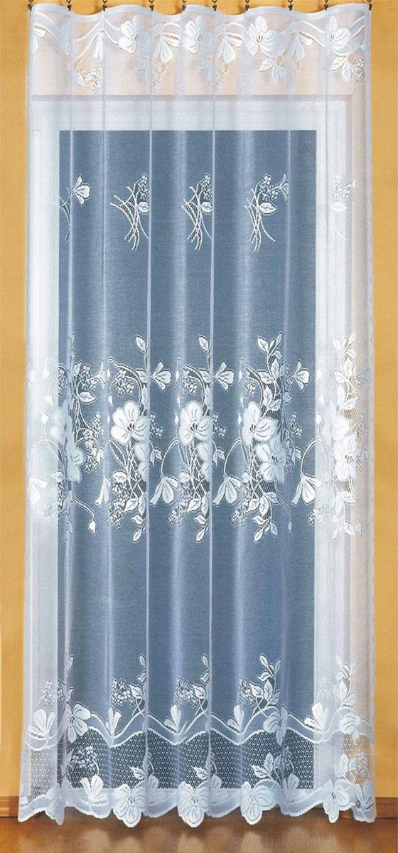 Гардина Wisan, цвет: белый, ширина 200 см, высота 250 см. 91629162Гардина белого цвета из жаккардовой ткани под балконный блок на прилегающее окно. Размеры: шир. 200*выс.250