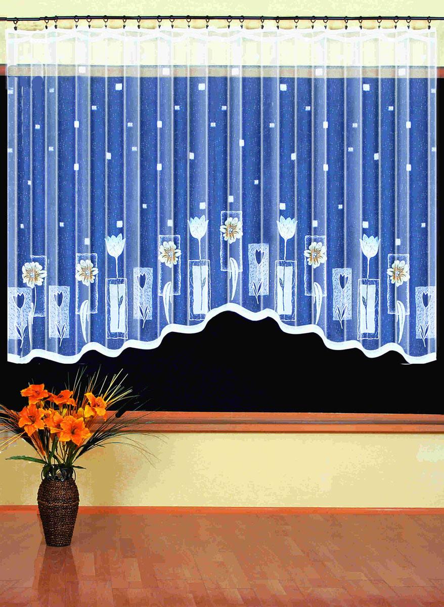 Гардина Wisan, цвет: белый, ширина 350 см, высота 170 см. 93939393вид крепления - под зажимы для штор Размеры: шир.350*выс.170