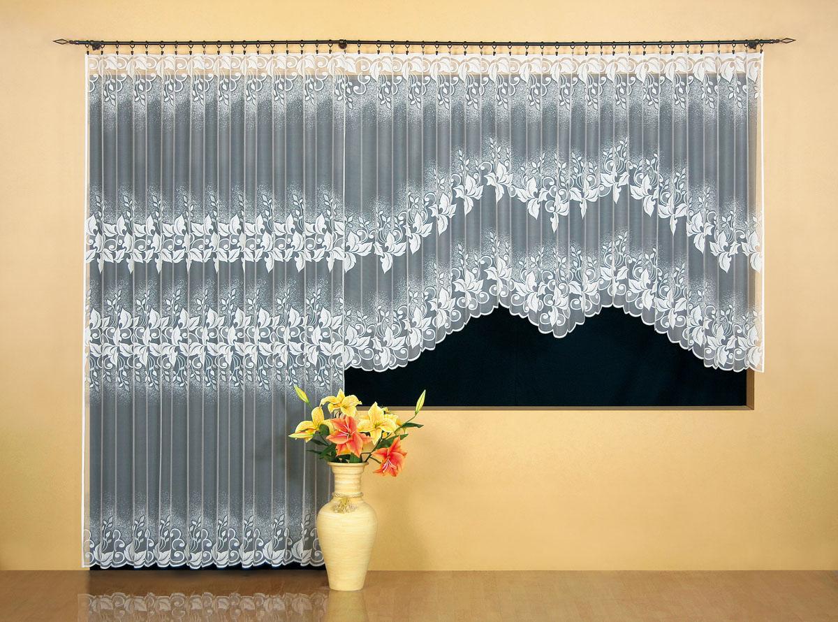 Гардина Wisan, цвет: белый, ширина 300 см, высота 150 см. 95109510Гардина жаккардовая, крепление зажимы для штор, можно взять в комплекте с арт. 9508 Размеры: ширина 300*высота 150