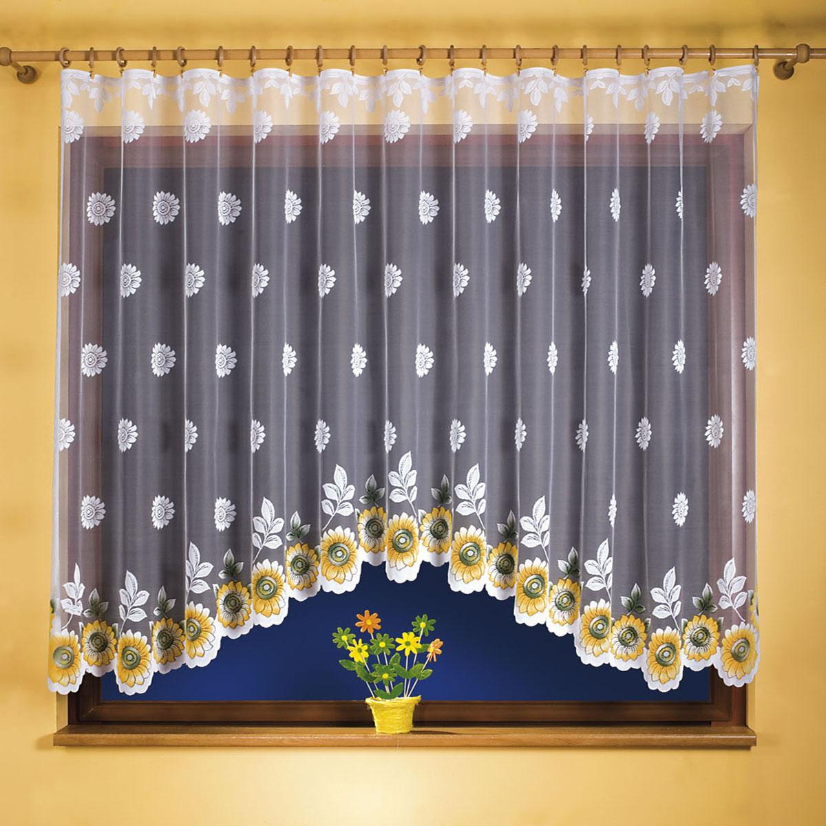 Гардина Wisan, цвет: белый, ширина 220 см, высота 120 см. 97699769вид крепления - под зажимы для штор Размеры: 220*120