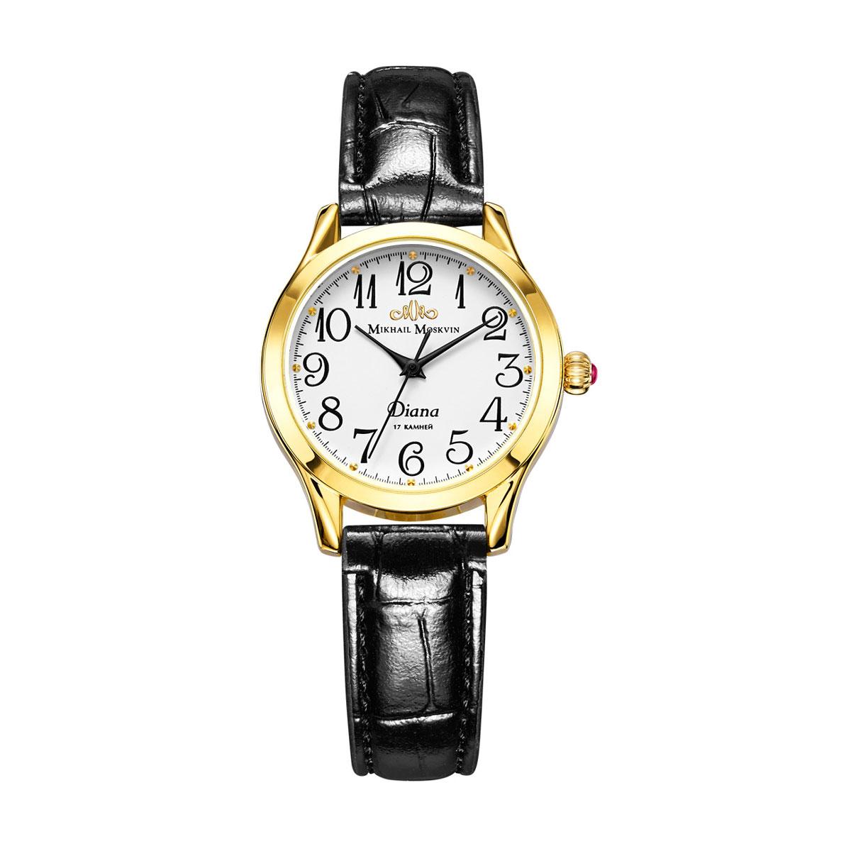 Часы женские наручные Mikhail Moskvin Диана, цвет: золотой. 590-2-2590-2-2Модель женской коллекции механических часов бренда «Mikhail Moskvin» привлекает своим сдержанным дизайном, в котором органично сочетаются технологичность и строгость. Круглый позолоченный корпус диаметром 30 мм с гранеными, изящно изогнутыми, ушками великолепно гармонирует с прекрасно читающимся классическим циферблатом. На белом поле циферблата арабские цифры дополнены элегантными черными стрелками. Круглые золотые часовые индексы расположены на бегущей по краю минутной дорожке. Золотистая заводная головка-луковица инкрустирована красной вставкой-кабошоном. Часы оснащены надежным механическим механизмом ручного завода. Черный блестящий ремень комплектуется удобной и надежной пряжкой.