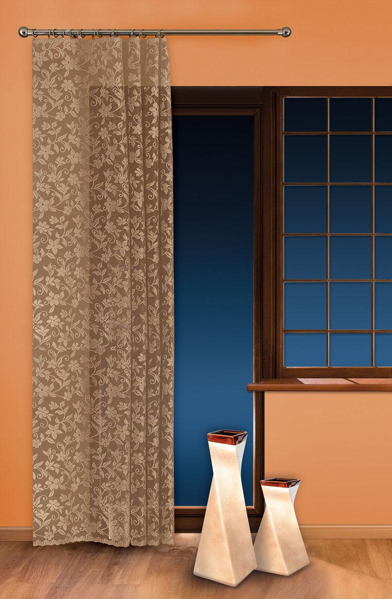 Гардина-тюль Wisan, цвет: льняной, ширина 150 см, высота 250 см5924 льнянойжаккардовая узорчатая гардина-тюль на шторной ленте ширина 150* высота 250 Размеры: ширина 150* высота 250
