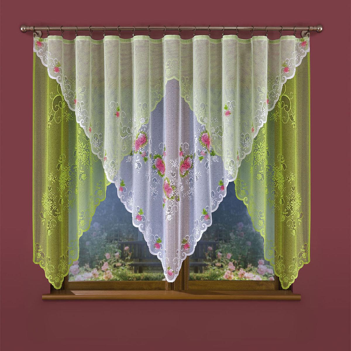 Гардина Wisan, цвет: белый, зеленый, ширина 300 см, высота 150 см. 655W655Wвид крепления - под зажимы для штор Размеры: ширина 300*высота 150