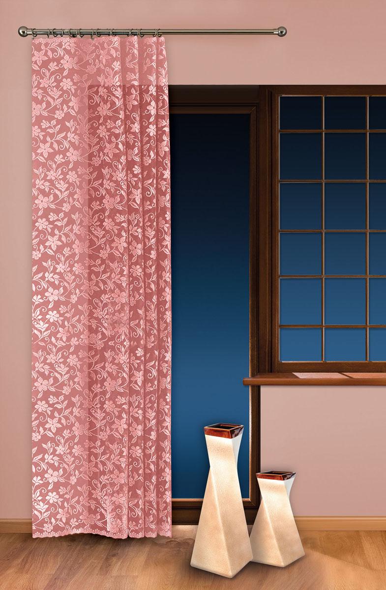 Гардина-тюль Wisan, цвет: розовый, ширина 150 см, высота 250 см5924 розовыйжаккардовая узорчатая гардина-тюль на шторной ленте ширина 150* высота 250 Размеры: ширина 150* высота 250