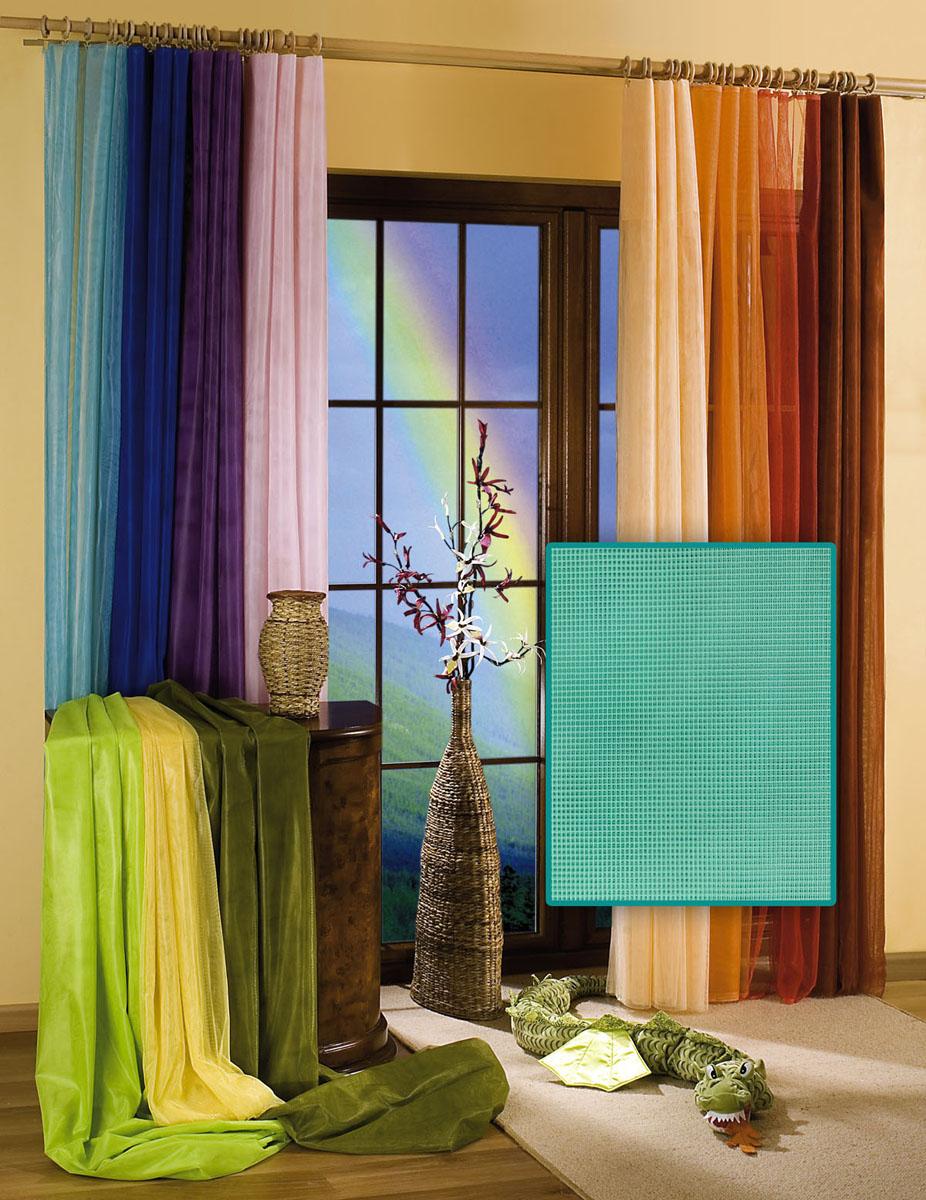 Гардина Wisan, цвет: бирюзовый, ширина 150 см, высота 250 см5896 бирюзовыйГардина-тюль из жесткой сеточки, с вшитой шторной лентой. Размеры: ширина 150* высота 250