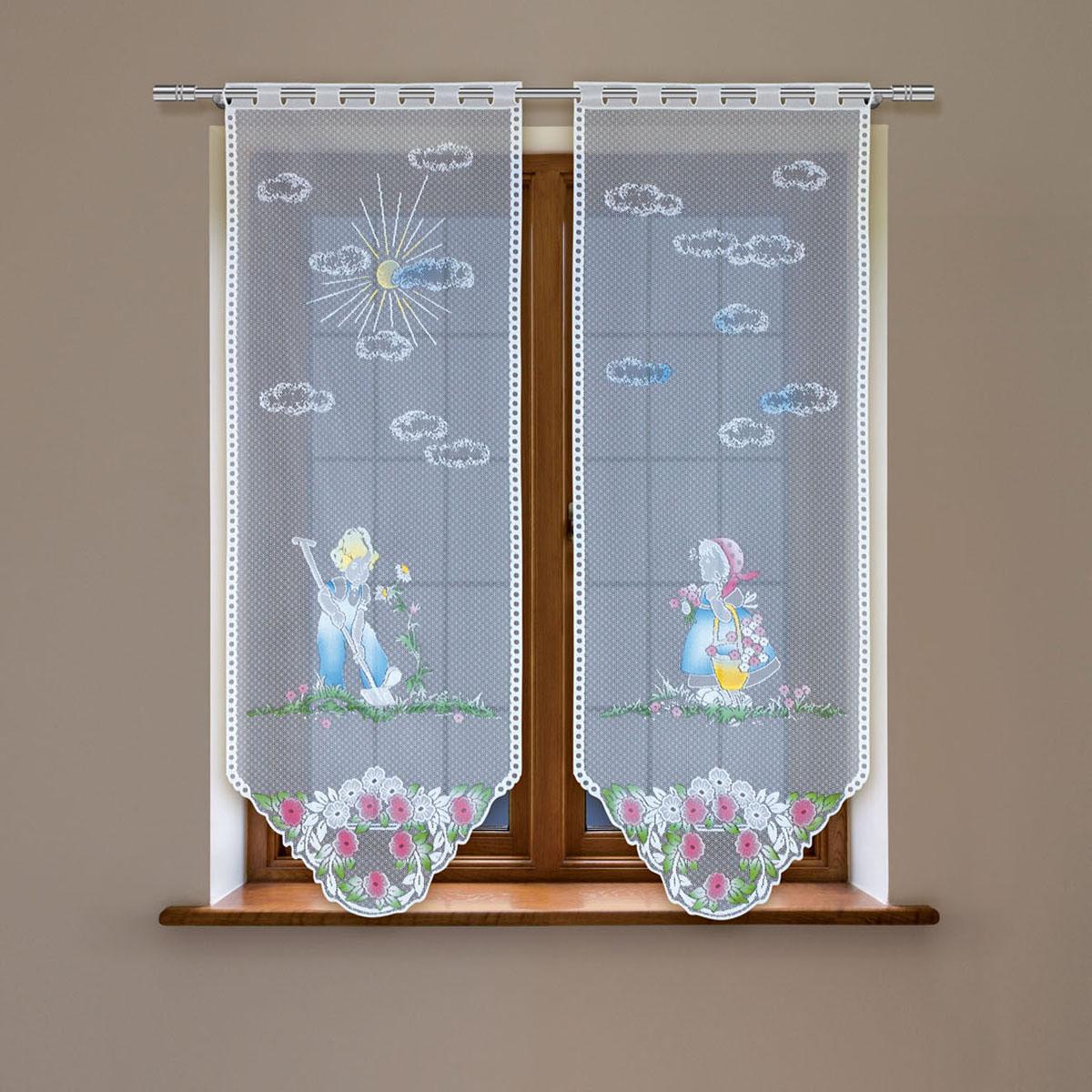 Гардина Haft, цвет: белый, высота 220 см. 4244Е/604244Е/60Гардина имеет в верхней части полотна прорези, через которые гардина-витраж вывешивается на карниз или можно крепить на зажим для штор,котрый в комплект не входит.Комплект состоит из двух полотен (выс.220* шир.60) Размеры: (высота 220* ширина 60)*2