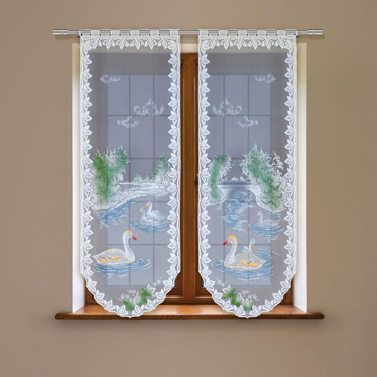Гардина Haft, цвет: белый, высота 120 см. 4243D/604243D/60Гардина имеет в верхней части полотна прорези, через которые гардина-витраж вывешивается на карниз или можно крепить на зажим для штор,котрый в комплект не входит.Комплект состоит из двух полотен (выс.120* шир.60) Размеры: (высота 120* ширина 60)*2