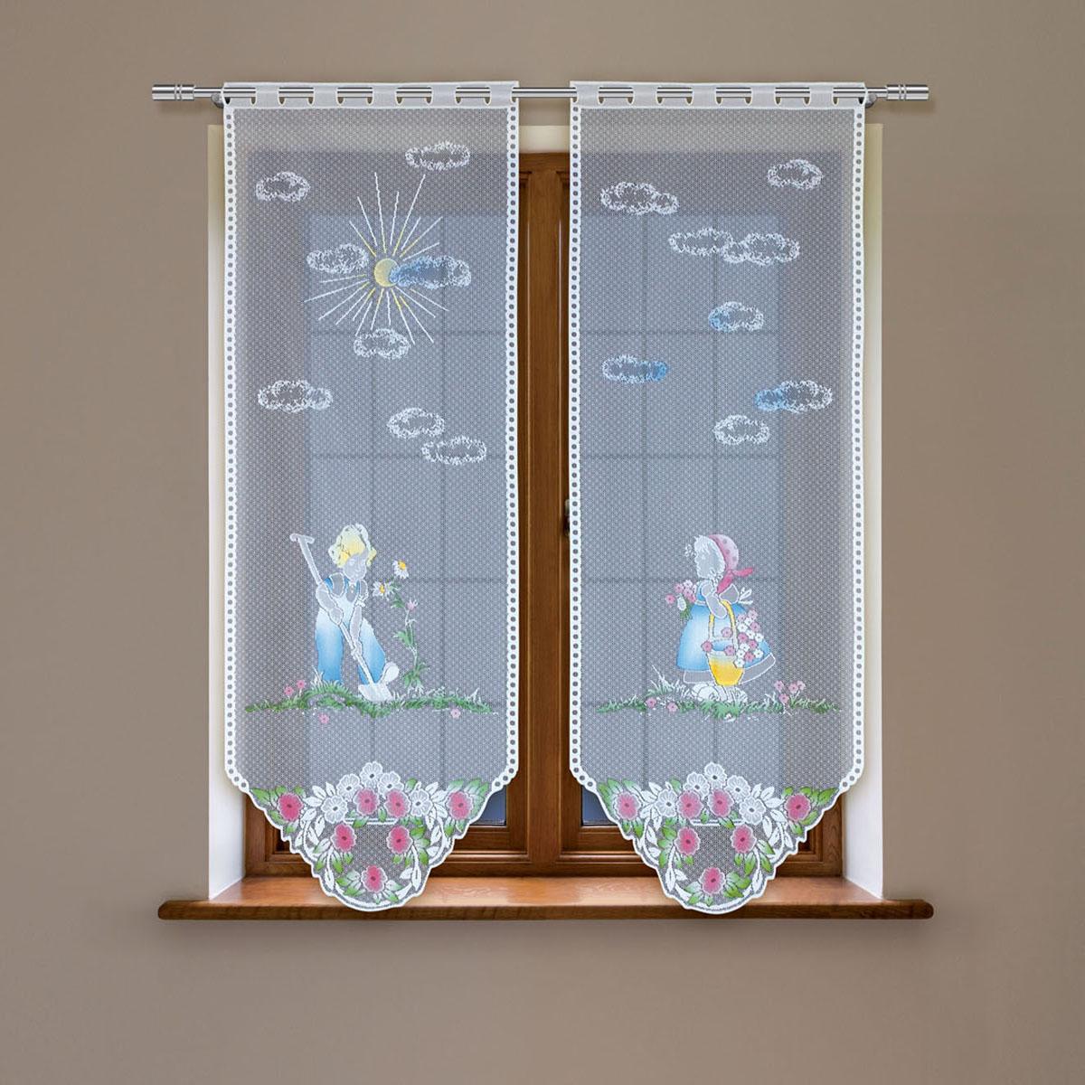 Гардина Haft, цвет: белый, высота 160 см. 4244С/604244С/60Гардина имеет в верхней части полотна прорези, через которые гардина-витраж вывешивается на карниз или можно крепить на зажим для штор,котрый в комплект не входит.Комплект состоит из двух полотен (выс.160* шир.60) Размеры: (высота 160* ширина 60)*2