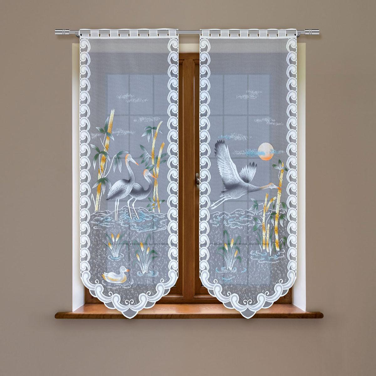 Гардина Haft, цвет: белый, высота 120 см. 4247D/604247D/60Гардина имеет в верхней части полотна прорези, через которые гардина-витраж вывешивается на карниз или можно крепить на зажим для штор,котрый в комплект не входит.Комплект состоит из двух полотен (выс.120* шир.60) Размеры: (высота 120* ширина 60)*2