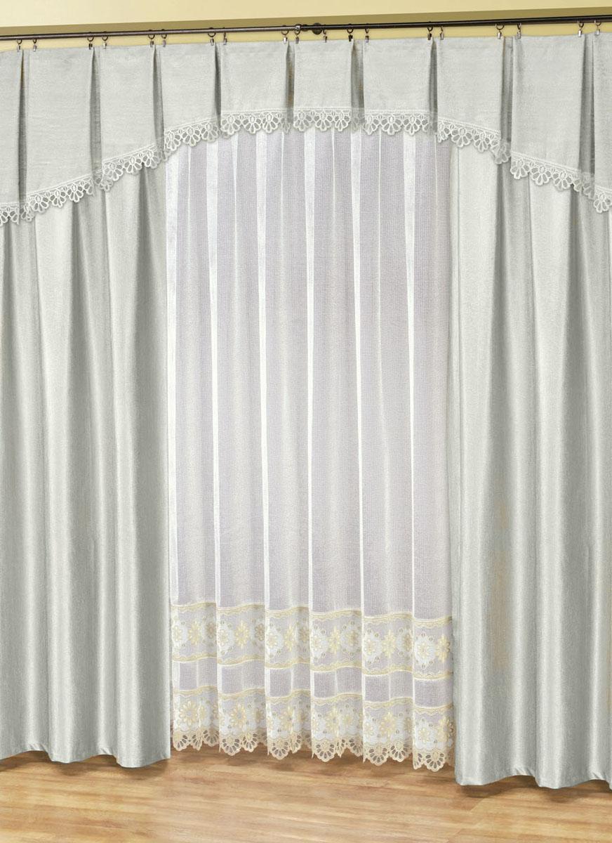 Комплект штор Haft, цвет: стальной, высота 250 см. 28890/25028890/250Комплект штор в спальню, состоящий из двух портьер стального цвета из плотной жаккардовой ткани, ламбрекена в тон в виде арки из той же ткани, украшенного кружевом и тюля в мелкую сетку с узором цвета золото. Хорошее затемнение пространства, 85-90% Размеры: тюль-ширина 500смх высота 250см,шторы- (высота 250смх ширина 170см)х2,ламбрекен высота 40см*ширина 500см