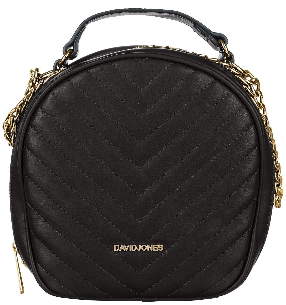 Сумка женская David Jones, цвет: черный. 5001-35001-3 BLACKСтильная женская сумка David Jones, выполненная из искусственной кожи, оформлена с лицевой стороны декоративной стежкой. Изделие имеет одно отделение, закрывающееся на застежку-молнию. Внутри сумки находятся накладной открытый карман и прорезной карман на застежке-молнии. Снаружи, на задней стенке расположен прорезной карман на застежке-молнии. Сумка оснащена плечевым ремнем в виде цепочки и удобной ручкой. В комплект входит съемный регулируемый плечевой ремень и сумка-чехол для хранения. Модная сумка идеально подчеркнет ваш неповторимый стиль.