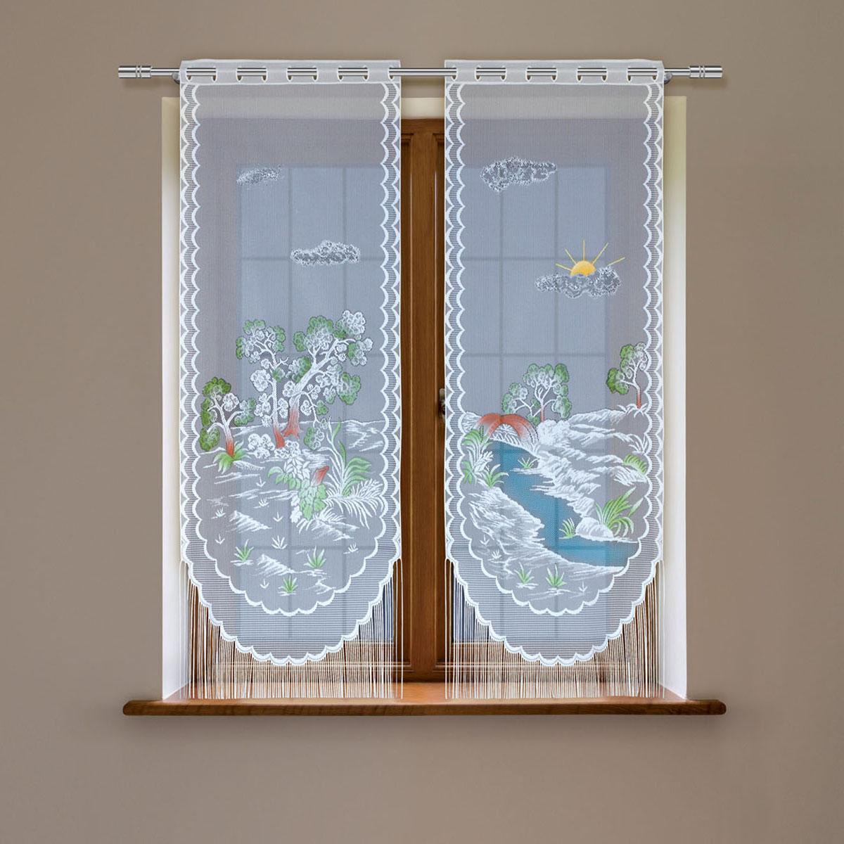 Гардина Haft, цвет: белый, высота 120 см2302D/60Гардина имеет в верхней части полотна прорези, через которые гардина-витраж вывешивается на карниз или можно крепить на зажим для штор,котрый в комплект не входит.Комплект состоит из двух полотен (выс.120* шир.60) Размеры: (высота 120* ширина 60)*2
