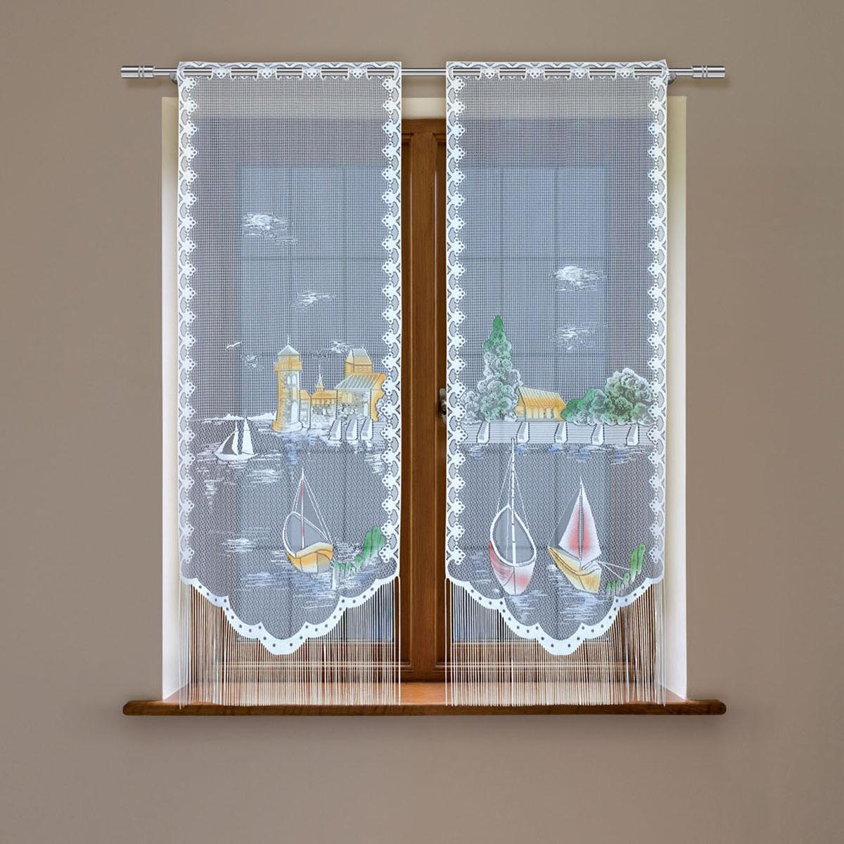 Гардина Haft, цвет: белый, высота 120 см. 5380D/605380D/60Гардина имеет в верхней части полотна прорези, через которые гардина-витраж вывешивается на карниз или можно крепить на зажим для штор,котрый в комплект не входит.Комплект состоит из двух полотен (выс.120* шир.60) Размеры: (высота 120* ширина 60)*2