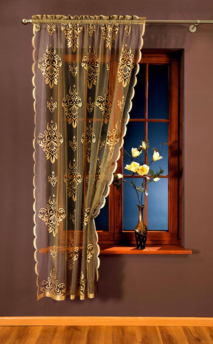 Гардина Wisan, цвет: светло-коричневый, ширина 150 см, высота 240 см. 809А809АЗолотисто-коричневая изящная гардина с узором медальонов. Крепится на кулиску Размеры: ширина 150* высота 240