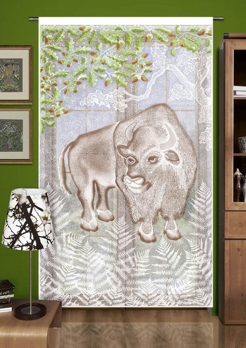 Гардина Wisan, цвет: белый, ширина 150 см, высота 240 см. 704А704Ажаккардовая гардина-панно с цветным рисунком буйвола. Крепится на кулиску ширина 150 высота 240 Размеры: шир.150*выс.240