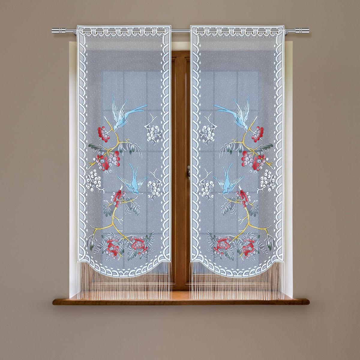 Гардина Haft, цвет: белый, высота 120 см. 5383D/605383D/60Гардина имеет в верхней части полотна прорези, через которые гардина-витраж вывешивается на карниз или можно крепить на зажим для штор,котрый в комплект не входит.Комплект состоит из двух полотен (выс.120* шир.60) Размеры: (высота 120* ширина 60)*2