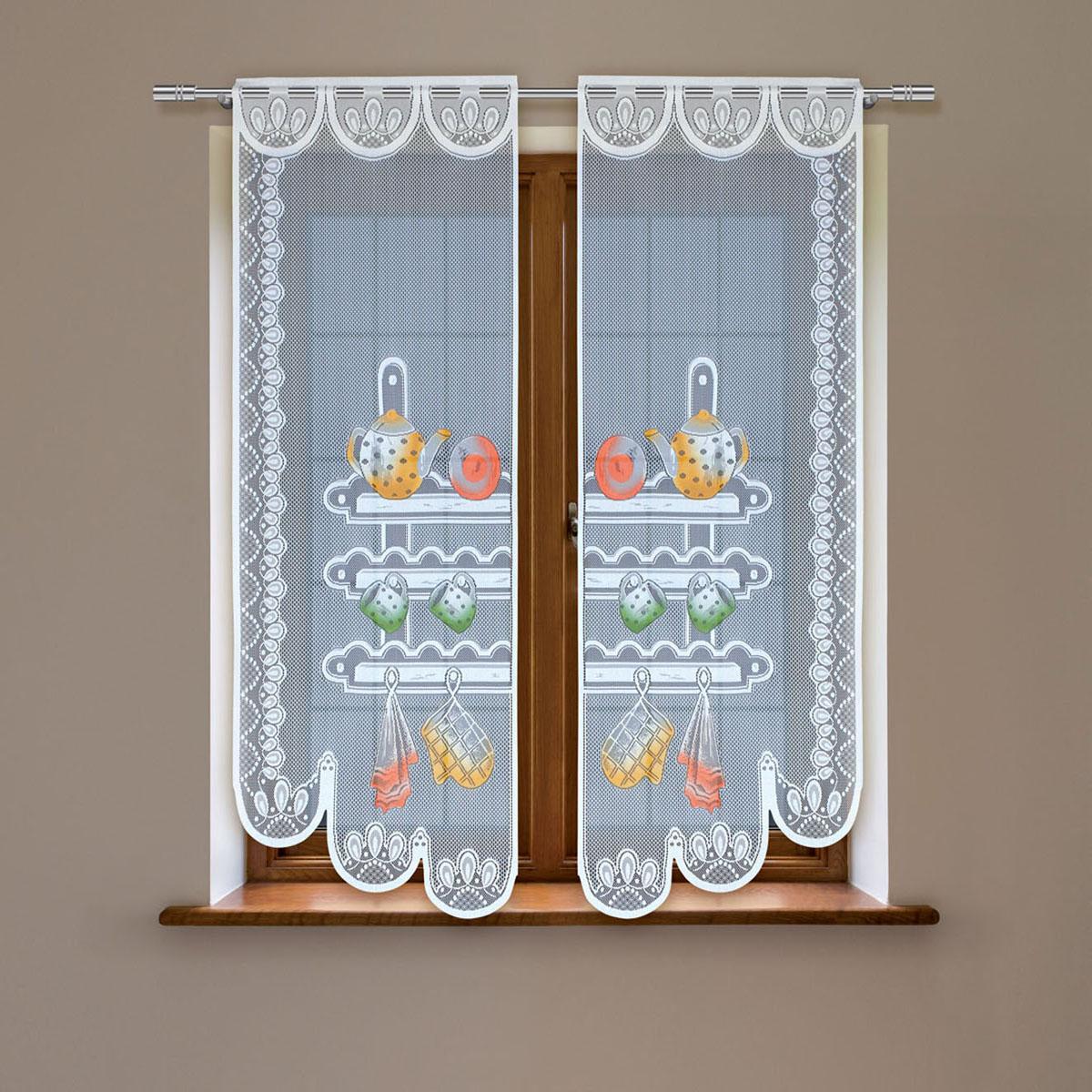 Гардина Haft, цвет: белый, высота 120 см. 8603D/608603D/60Гардина имеет в верхней части полотна прорези, через которые гардина-витраж вывешивается на карниз или можно крепить на зажим для штор,котрый в комплект не входит.Комплект состоит из двух полотен (выс.120* шир.60) Размеры: (высота 120* ширина 60)*2