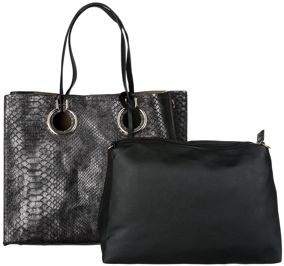 Сумка-шоппер женская David Jones, цвет: черный, серебристый. 4010-2