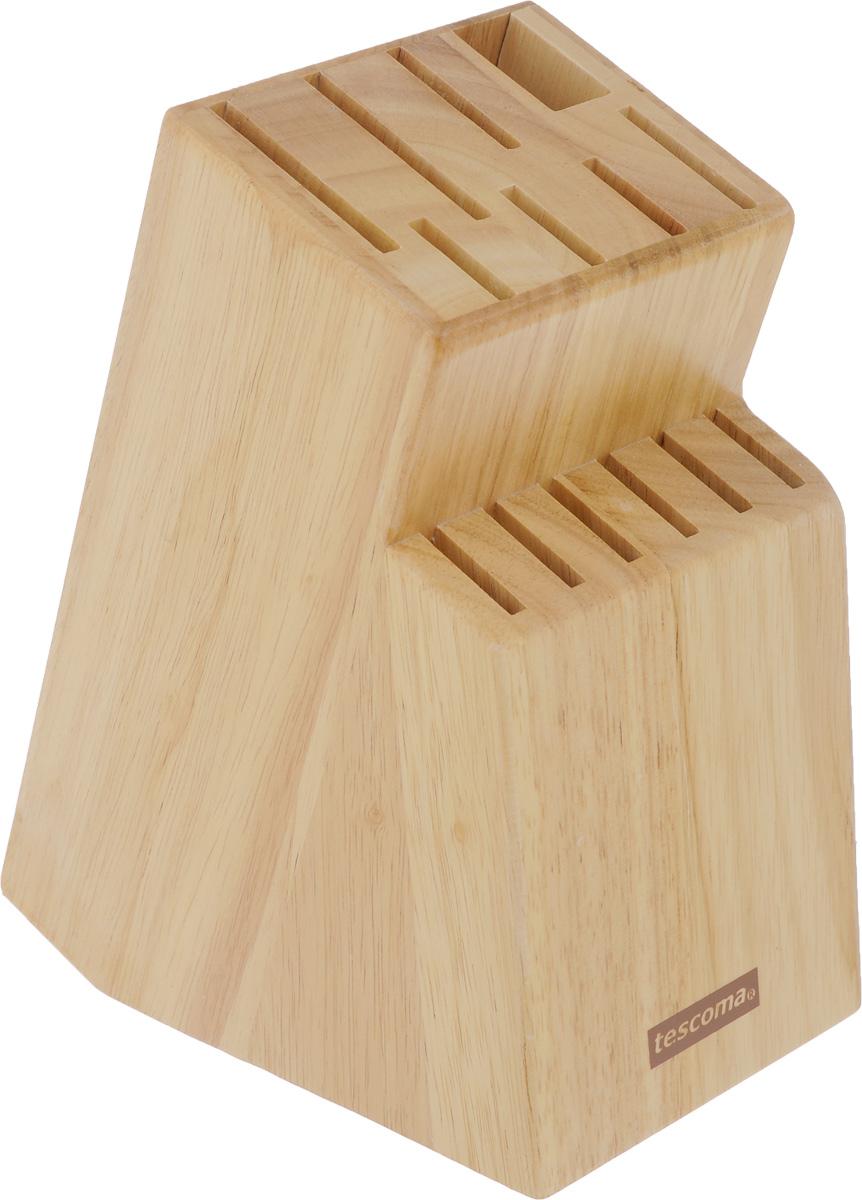 Блок для ножей Tescoma Woody869508Блок Tescoma Woody, изготовленный из специальной благородной древесины – каучука бразильского, обеспечивает безопасное хранение ножей. Блок имеет 13 отверстий для ножей и 1 отверстие для ножниц или точилки. Изделие оснащено противоскользящими резиновыми накладками. Нельзя мыть в посудомоечной машине.