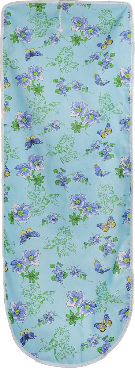 Чехол для гладильной доски Detalle, цвет: синий, голубой, зеленый , 125 х 47 смЕ1301_синий, голубой, зеленыйЧехол для гладильной доски Detalle, выполненный из хлопка с подкладкой из мягкого войлокообразного полотна (ПЭФ), предназначен для защиты или замены изношенного покрытия гладильной доски. Чехол снабжен стягивающим шнуром, при помощи которого вы легко отрегулируете оптимальное натяжение чехла и зафиксируете его на рабочей поверхности гладильной доски. Из войлокообразного полотна вы можете вырезать подкладку любого размера, подходящую именно для вашей доски. Этот качественный чехол обеспечит вам легкое глажение. Он предотвратит образование блеска и отпечатков металлической сетки гладильной доски на одежде. Войлокообразное полотно практично и долговечно в использовании. Размер чехла: 125 x 47 см. Максимальный размер доски: 120 х 42 см. Размер войлочного полотна: 130 х 52 см.