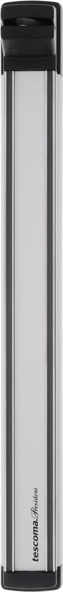 Держатель магнитный для ножей Tescoma President, с точилкой, длина 41 см638699Держатель Tescoma President предназначен для удобного хранения металлических кухонных ножей. Он оснащен сильными магнитами для надежной фиксации ножей и точилкой с прочной алмазной поверхностью для эффективной заточки. Изделие изготовлено из высококачественной нержавеющей стали, анодированного алюминия и прочного пластика. Инструкция по монтажу, в том числе монтажные аксессуары входят в комплект. Держатель для ножей Tescoma President идеально впишется в интерьер современной кухни и позволит полнее использовать пространство, избегая размещения ножей на горизонтальной поверхности.