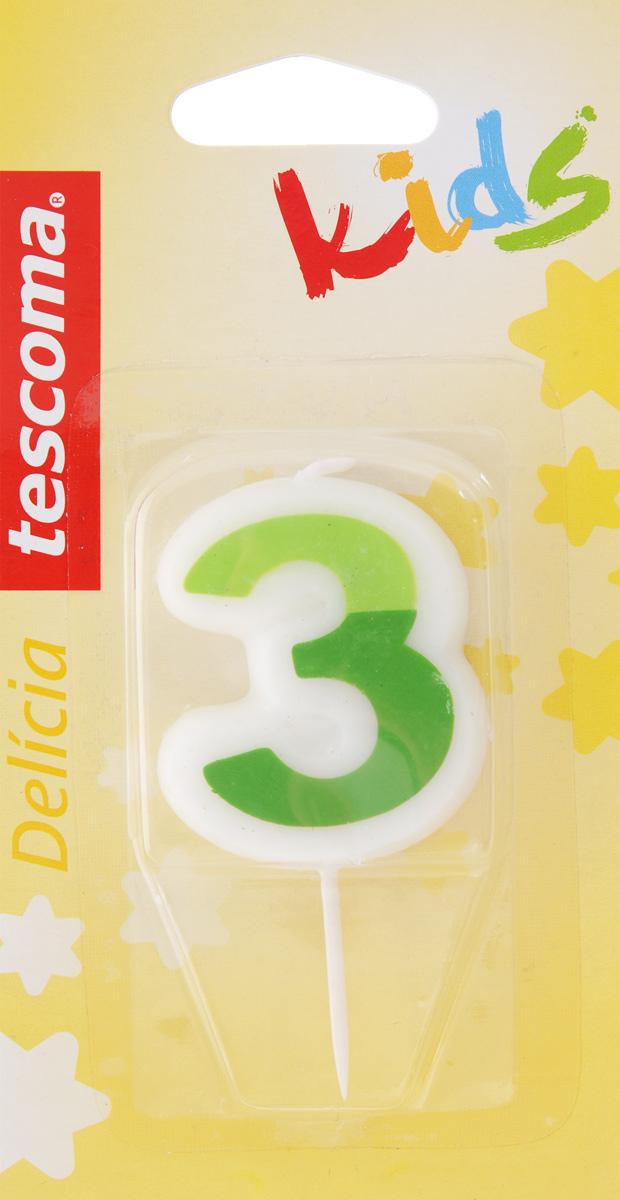 Свеча для торта Tescoma Delicia Kids, тройка, цвет: белый, зеленый630973_зеленыйСвеча для торта Tescoma Delicia Kids изготовлена из высококачественного парафина, фитиль - натуральное волокно. Это отличное решение для декорирования торта к празднику. Ее можно комбинировать с другими цифрами. Изделие хорошо и долго горит. С этой свечой ваш праздник станет еще удивительнее и веселее. Высота свечи (без учета иглы): 4,5 см.