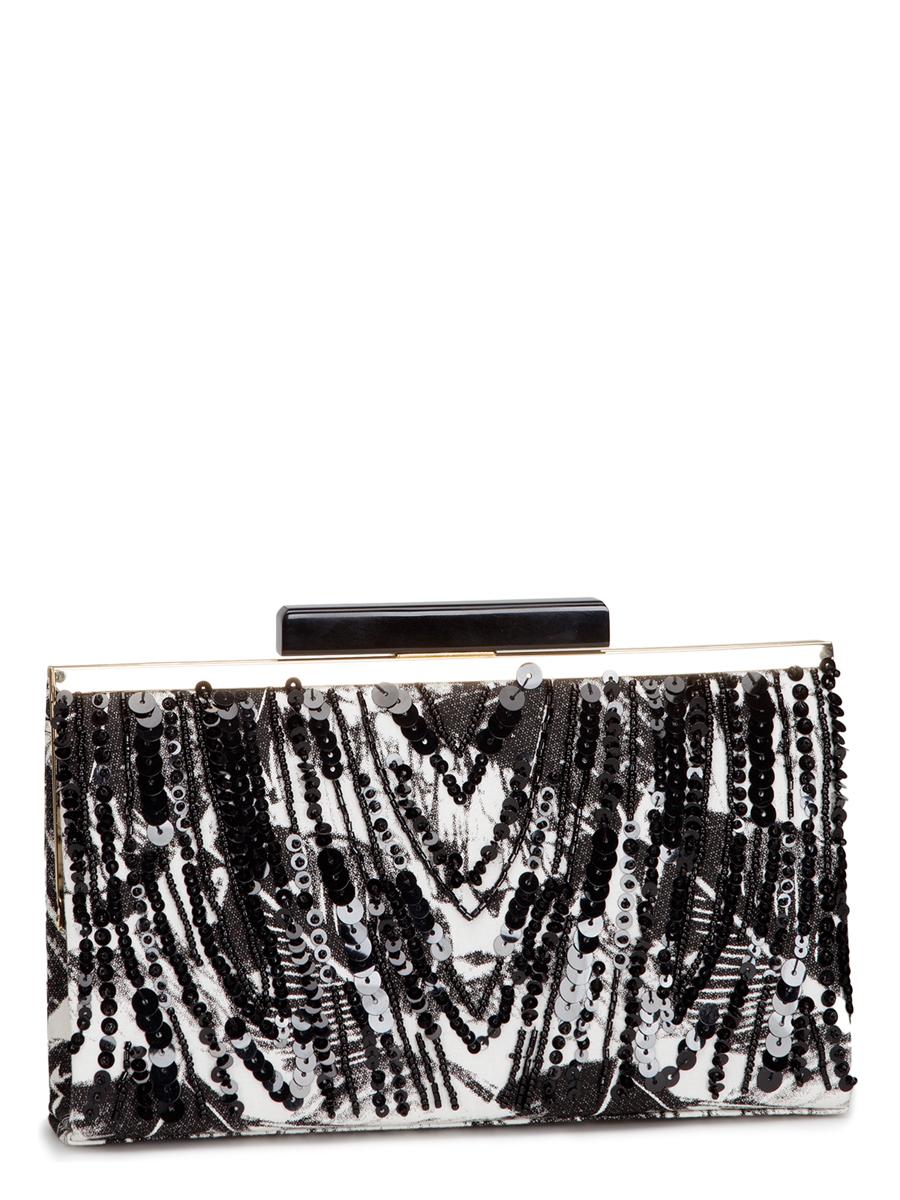 Клатч Eleganzza, цвет: черный, белый. ZZ-16665ZZ-16665Клатч Eleganzza изготовлен из высококачественного текстиля и закрывается на рамочный замок. Сумка имеет одно основное отделение, в котором есть один открытый накладной карман. Изделие дополнено изящной длинной цепочкой для переноски, а фронтальная сторона декорирована блестящими пайетками и бисером. Клатч Eleganzza покорит сердце всех любительниц красивых и ярких аксессуаров для выхода в свет! Он прекрасно дополнит ваш образ и подчеркнет неповторимый стиль!