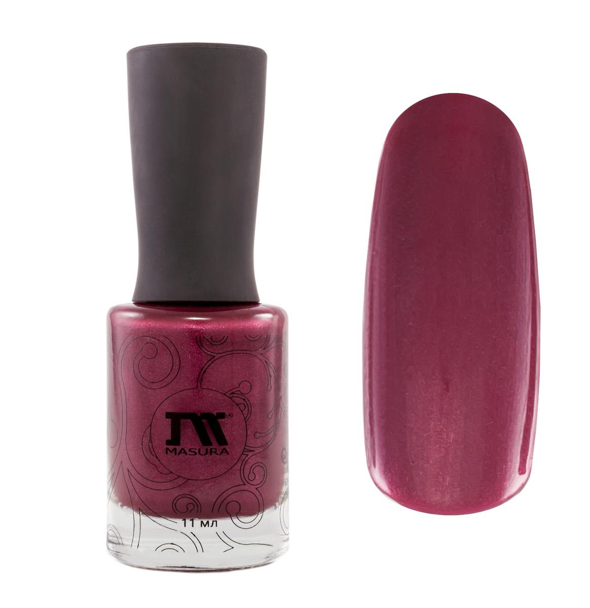 Masura Лак для ногтей Сколько Можно Говорить о Погоде, 11 мл1011глубокий перламутровый фиолетовый с бордовым тоном, с мельчайшим серебристым отливом