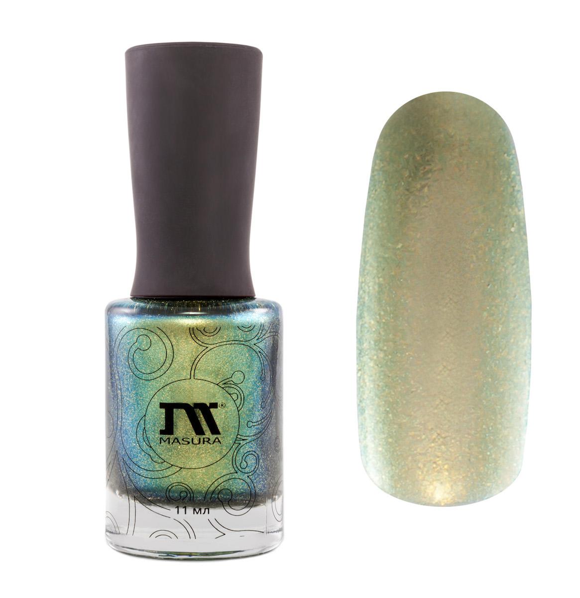 Masura Лак для ногтей Мне Не Нужно Всем Нравиться, 11 мл1024зеленый с золотистым отливом, зеленовато-золотым мерцанием и золотой слюдой