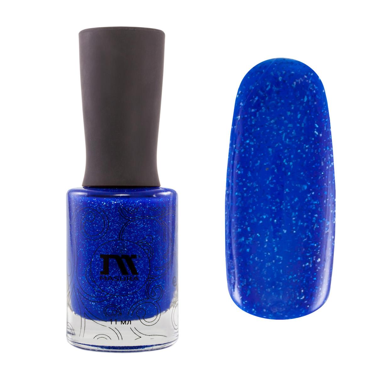 Masura Лак для ногтей Сегодня Вечером Я Свободна, 11 мл1030кобальтовый голографический с синим тоном, с серебристым и голографическим холодным сиянием