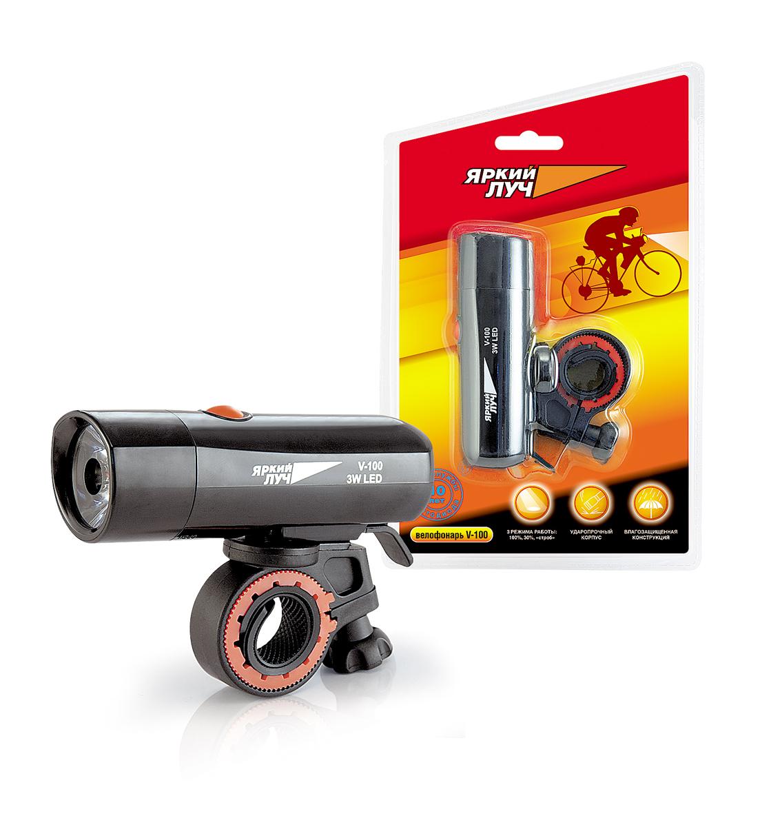 Велофонарь Яркий Луч. V-100V-100Фонарь спроектирован и рекомендован для велосипедистов, в комплекте поставляется крепление на руль. Незаменим для любителей ночных велопрогулок. Три режима работы: 100% (100 лм), 30% (30 лм) и строб. Яркий светодиод (3 Вт). Оптическая система фонаря (коллиматорная линза) позволит комфортно перемещаться на средней скорости в полной темноте, своевременно обозначая ямы и неровности дорог, а режим строб поможет обезопасить езду в светлое время суток. Элементы питания: 4 х ААА (R03), в комплект не входят, обеспечат светом в пути продолжительное время (в режиме 100% - не менее 2 часов). Влагозащищенный корпус убережет фонарь в дождливую погоду. Конструктивная особенность: поворот фонаря относительно крепления на 360°. ЯРКИЙ 3 Вт СВЕТОДИОД 3 РЕЖИМА РАБОТЫ: 100%, 30%, «строб» УДАРОПРОЧНЫЙ КОРПУС ВЛАГОЗАЩИЩЕННАЯ КОНСТРУКЦИЯ Фонарь спроектирован и рекомендован для велосипедистов, в комплекте поставляется крепление на руль. Незаменим для любителей ночных...
