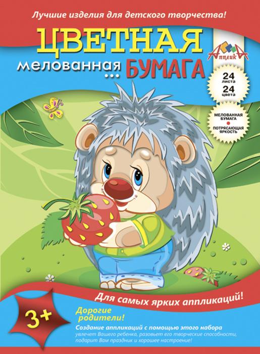 Апплика Бумага цветная Ежик 24 листа 24 цветаС1233-03