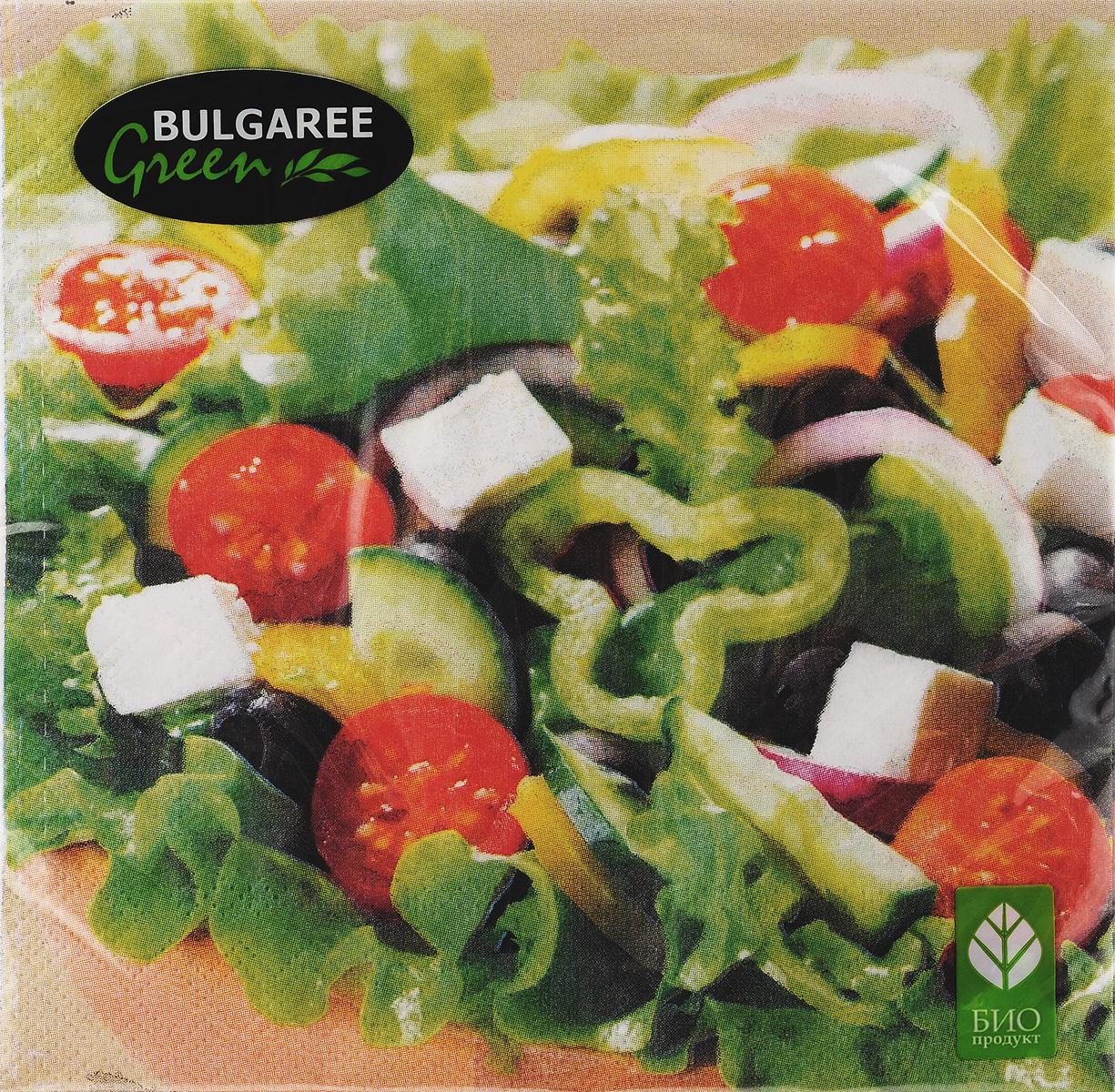 Салфетки бумажные Bulgaree Green Греческий салат, трехслойные, 33 х 33 см, 20 шт1002054Декоративные трехслойные салфетки Bulgaree Green Греческий салат выполнены из 100% целлюлозы европейского качества и оформлены ярким рисунком. Изделия станут отличным дополнением любого праздничного стола. Они отличаются необычной мягкостью, прочностью и оригинальностью. Размер салфеток в развернутом виде: 33 х 33 см.