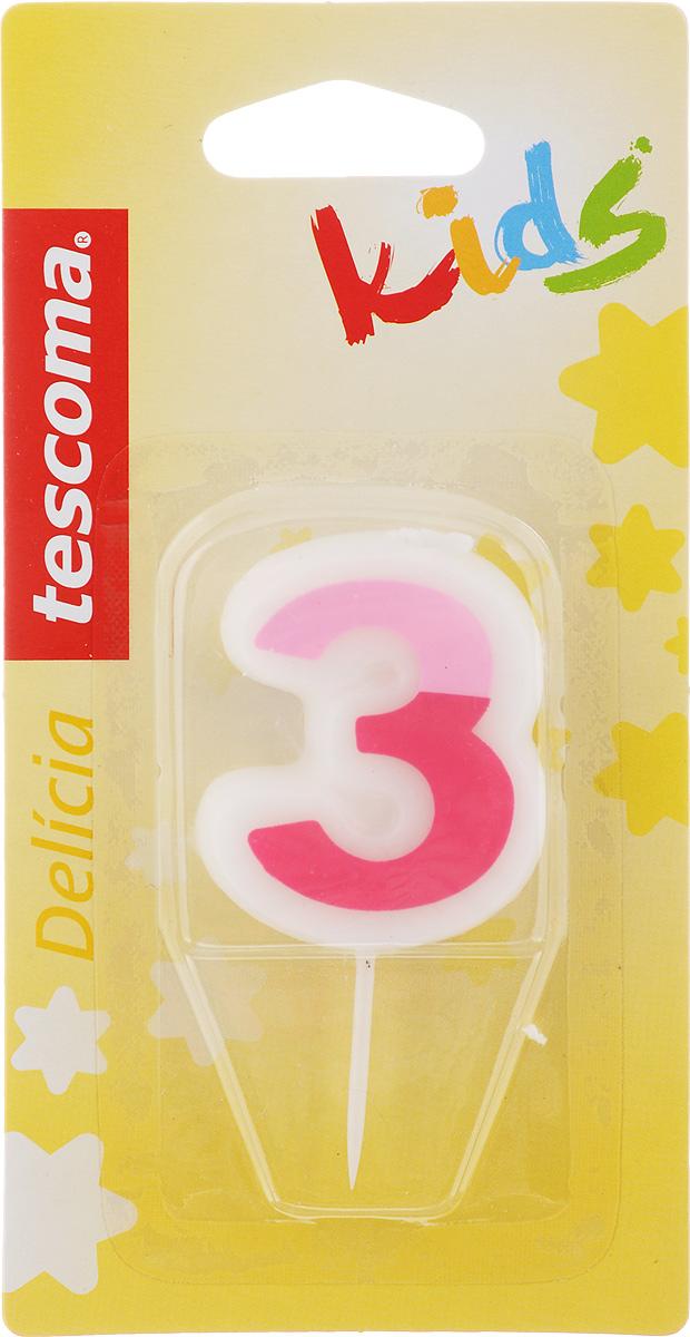 Свеча для торта Tescoma Delicia Kids, тройка, цвет: белый, розовый630973Свеча для торта Tescoma Delicia Kids изготовлена из высококачественного парафина, фитиль - натуральное волокно. Это отличное решение для декорирования торта к празднику. Ее можно комбинировать с другими цифрами. Изделие хорошо и долго горит. С этой свечой ваш праздник станет еще удивительнее и веселее. Высота свечи (без учета иглы): 4,5 см. Ширина свечи: 4 см.