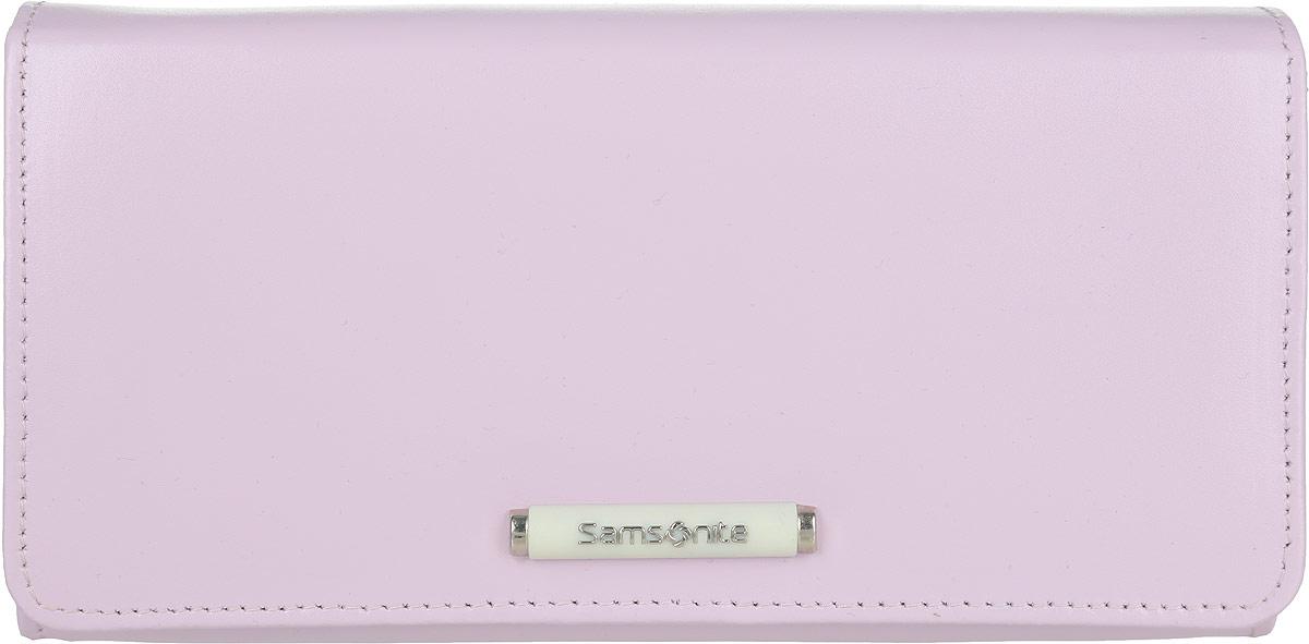 Кошелек женский Samsonite, цвет: сиреневый. 71V*6131471V*61314Стильный женский кошелек Samsonite выполнен из натуральной кожи. Внутри содержатся четыре отделения для купюр, карман на застежке-молнии для мелочи, пятнадцать кармашков для визиток и пластиковых карт, одно из которых с сетчатым окошком, карман для документов с отделением на застежке-молнии, потайной карман и кармашек с сетчатым окошком. Закрывается изделие на клапан с застежкой-кнопкой, оформленный декоративным элементом с названием бренда. Изделие упаковано в фирменную коробку. Кошелек станет отличным подарком человеку, ценящему практичные и стильные вещи, а качество его исполнения представит такой подарок в самом выгодном свете.