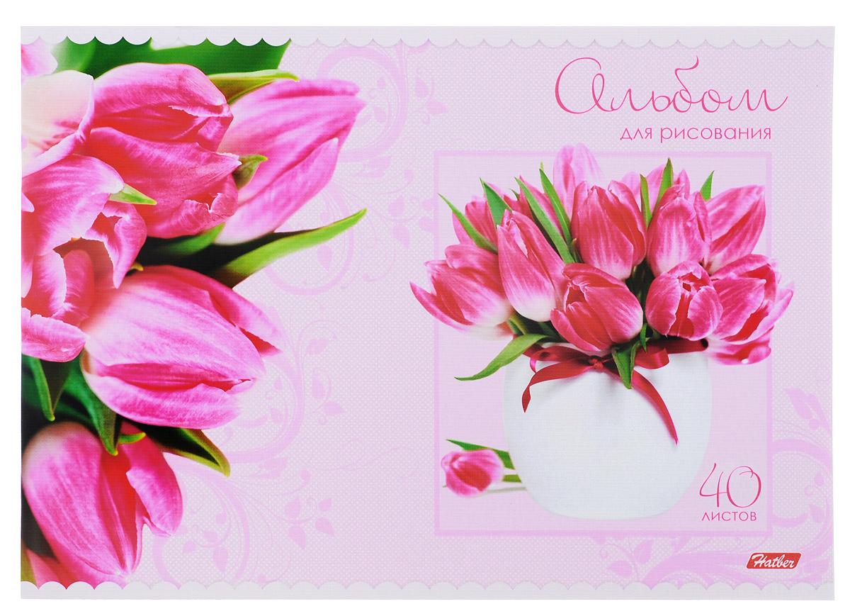 Hatber Альбом для рисования Тюльпаны цвет розовый 40 листов40А4тB_10200_розовые тюльпаныАльбом для рисования Hatber Тюльпаны непременно порадует маленького художника и вдохновит его на творчество. Альбом изготовлен из белоснежной бумаги с яркой обложкой из плотного картона, оформленной красочным изображением. Внутренний блок состоит из 40 листов, скрепленных двумя металлическими скрепками. Высокое качество бумаги позволяет рисовать в альбоме карандашами, фломастерами, акварельными и гуашевыми красками. Создание собственных картинок приносит детям настоящее удовольствие.