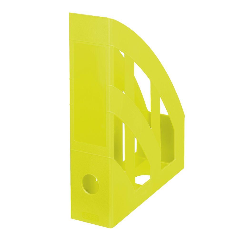 Herlitz Подставка для документов Classic цвет лимонный11363603Практичная подставка для бумаги от Herlitz всегда поможет вам избавиться от лишних документов и содержать порядок на рабочем столе. Она изготовлена из пластика и находится всегда в вертикальном положении, тем самым обеспечивая надежную фиксацию различных документов. Подставка для документов значительно облегчает делопроизводство. Яркий дизайн позволит ей стать достойным аксессуаром среди ваших канцелярских принадлежностей и будет дарить вам хорошее настроение. Формат A4 Круглый слот на задней стенке