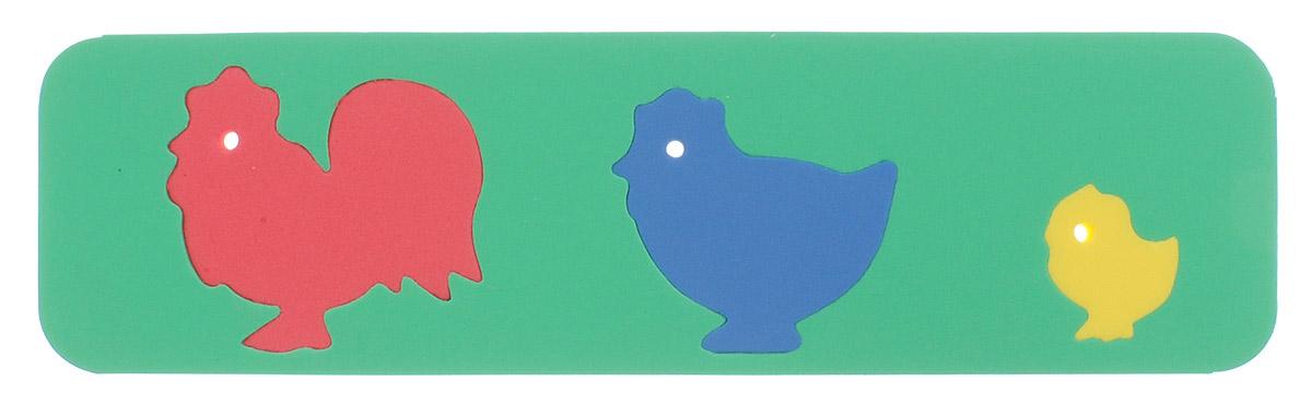 Бомик Пазл для малышей Фигурки животных Куриное семейство110Пазл для малышей Бомик Фигурки животных. Куриное семейство выполнен из мягкого полимера, поэтому детали легко гнутся и не ломаются, их всегда можно состыковать. Пазл представляет собой основу, в которой вырезаны фигурные контуры трех животных. Ваш ребенок может собирать его и в ванной. Элементы можно намочить, благодаря чему они будут хорошо прилипать к стене в ванной комнате. Пазлы развивают у ребенка память, воображение, моторику, пространственное и логическое мышление.
