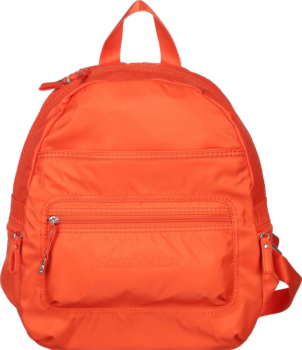 Рюкзак женский Samsonite, цвет: оранжевый. 5H3*960245H3*96024Стильный женский рюкзак Samsonite выполнен из полиамида. Изделие имеет одно основное отделение, закрывающееся на застежку-молнию. Внутри находятся прорезной карман на застежке-молнии, текстильный ремешок с карабином для ключей и два накладных открытых кармана. Снаружи, на передней стенке расположены два нашивных кармана на застежках-молниях. По бокам предусмотрены дополнительные кармашки на застежках-молниях. Модель оснащена регулируемыми лямками и удобной ручкой для переноски в руках. Стильный рюкзак позволит вам завершить образ и подчеркнет ваше отменное чувство стиля.