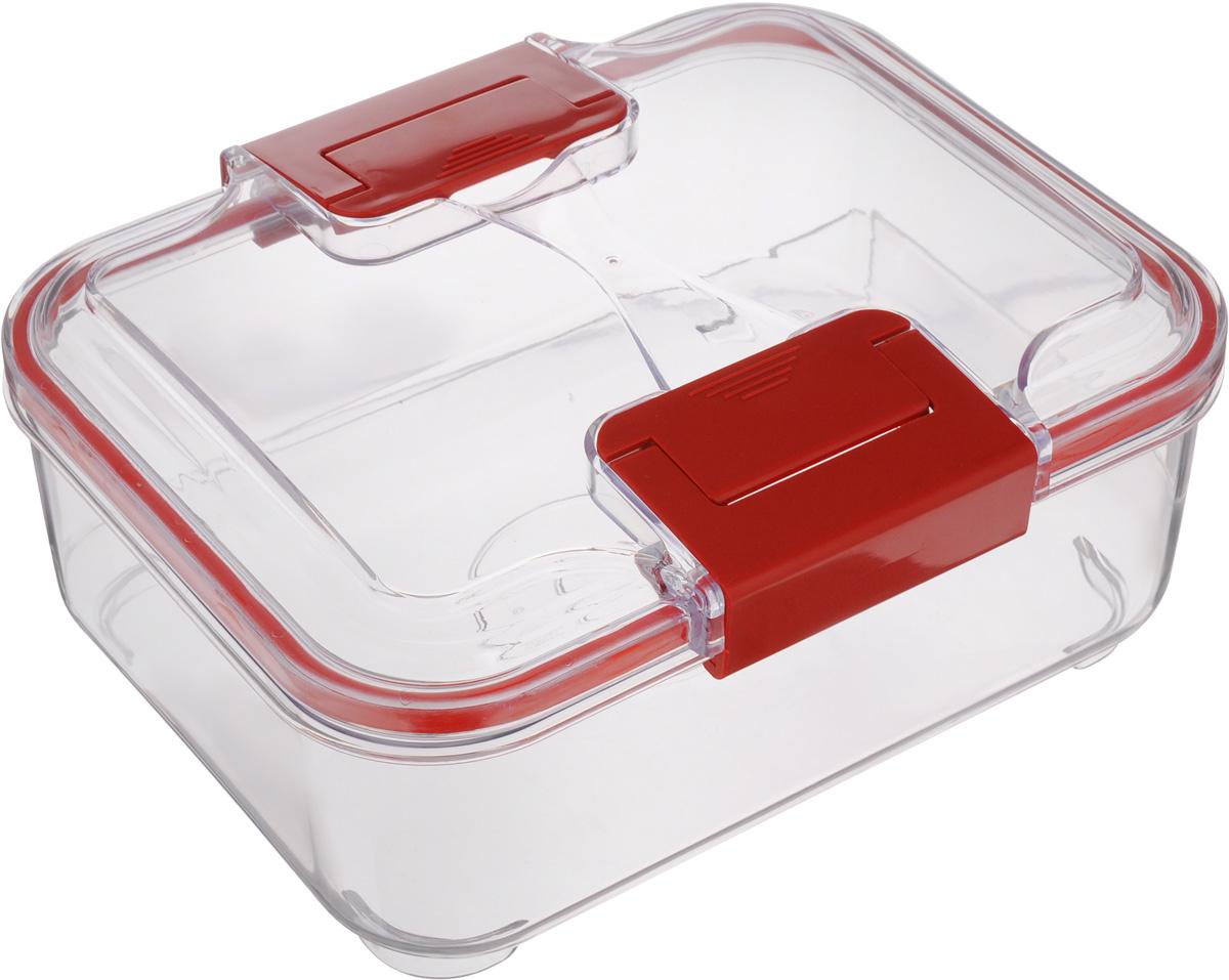 Контейнер Status, цвет: прозрачный, красный, 1,5 лRC15 RedПищевой контейнер Status изготовлен из высококачественного пищевого пластика. Контейнер безопасен для здоровья, не содержит BPA. Изделие имеет прямоугольную форму и оснащено плотно закрывающейся крышкой. Прозрачные стенки позволяют видеть содержимое. Контейнер закрывается при помощи двух защелок. Можно мыть в посудомоечной машине. Контейнер подходит для использования в морозильной камере и СВЧ.