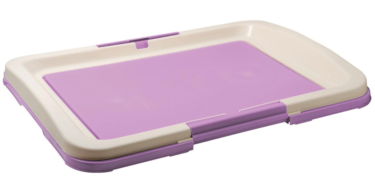 Туалет для собак V.I.Pet Японский стиль, цвет: фиолетовый, молочный, 63 х 49 х 6 смP103-06Туалет для собак V.I.Pet Японский стиль, изготовленный из нетоксичного пластика, предназначен для собак и щенков. Гигиеническая пеленка помещается под решетку, которая удерживается боковыми фиксаторами. Туалет легко моется водой.