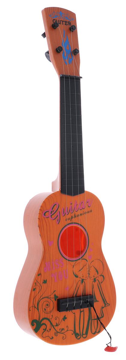Shantou Гитара цвет коричневый0810M092Гитара Shantou станет любимой игрушкой вашего малыша. Особенность инструмента в том, что она выглядит практически как настоящая акустическая гитара и имеет 4 струны. Оригинальный дизайн надолго привлечет внимание ребенка. В процессе игры у малыша развивается музыкальный слух, воображение, он учится различать звуки и ноты и знакомиться с миром музыки. Игрушка изготовлена из прочного экологически чистого пластика, безопасна для здоровья ребенка.