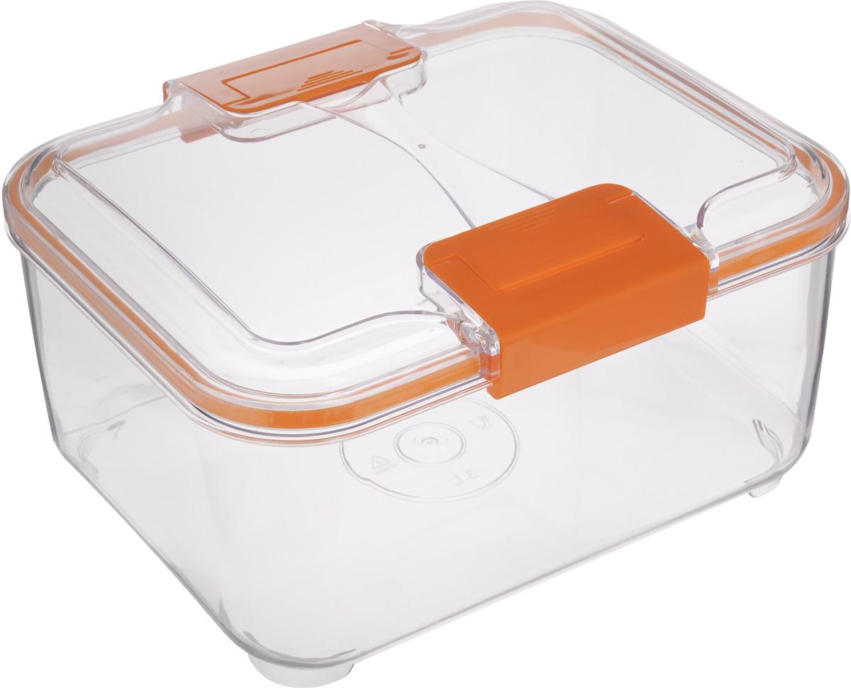 Контейнер Status, цвет: прозрачный, оранжевый, 3 лRC30 OrangeПищевой контейнер Status изготовлен из высококачественного пищевого пластика. Контейнер безопасен для здоровья, не содержит BPA. Изделие имеет прямоугольную форму и оснащено плотно закрывающейся крышкой. Прозрачные стенки позволяют видеть содержимое. Контейнер закрывается при помощи двух защелок. Можно мыть в посудомоечной машине. Контейнер подходит для использования в морозильной камере и СВЧ.