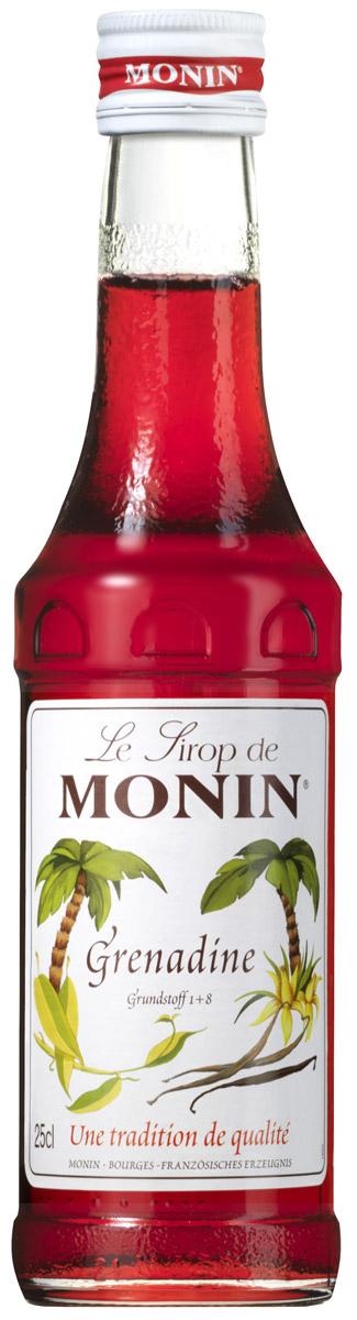 Monin Гренадин сироп, 0,25 лSMONN0-000093Гренадин на сегодняшний день является наиболее распространенным и универсальным подслащивающим веществом и ароматизатором в классической барной миксологии. Как трудно в это верить, он не имеет ничего общего с гранатовым сиропом. Многие коктейли содержат Гренадин. Это придает приятный красный цвет и сладкий, слегка терпкий вкус, который очень популярен для детей и взрослых. Сироп Monin Гренадин представляет аромат красных ягод с оттенком ванили и ярко-красный цвет для окраски безалкогольных напитков, коктейлей, десертов, маринадов и ряд других рецептов. Сиропы Monin выпускает одноименная французская марка, которая известна как лидирующий производитель алкогольных и безалкогольных сиропов в мире. В 1912 году во французском городке Бурже девятнадцатилетний предприниматель Джордж Монин основал собственную компанию, которая специализировалась на производстве вин, ликеров и сиропов. Место для завода было выбрано не случайно: город Бурже находился в...