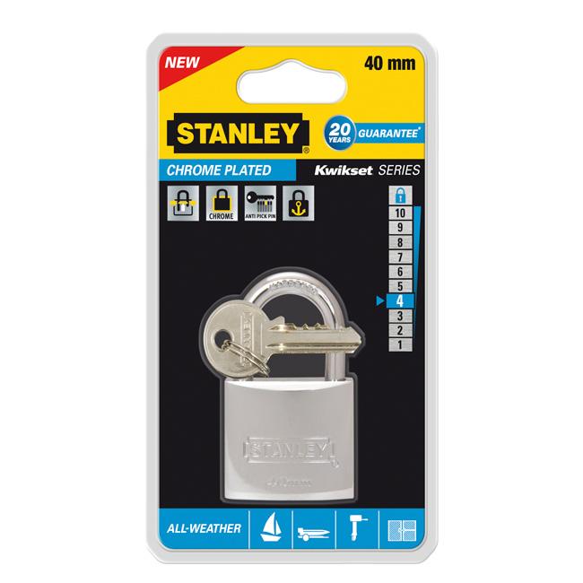 Замок Stanley из хромированной латуни, 40 мм. S742-012S742-012Всепогодные навесные замки