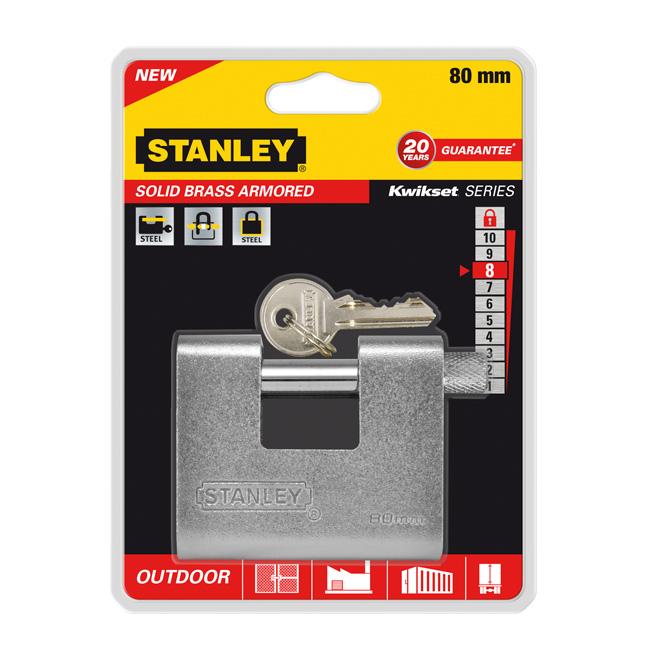 Замок Stanley латунный армированный, 80 мм. S742-023S742-023Замки для использования на улице