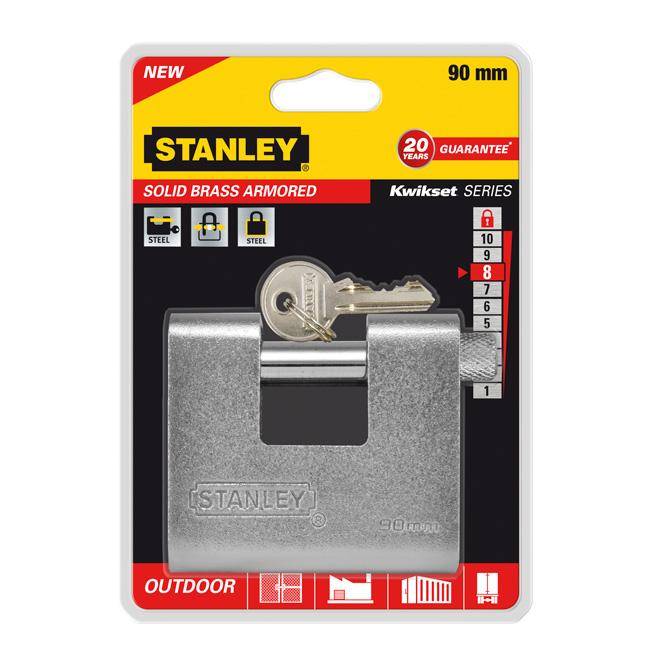 Замок Stanley латунный армированный, 90 мм. S742-024S742-024Замки для использования на улице