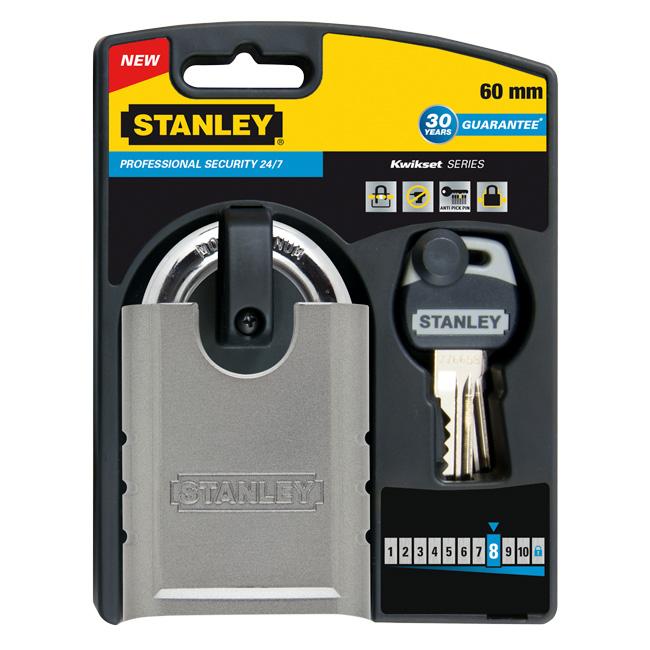 Замок Stanley закаленная сталь, защита 24/7, 60 мм. S742-001S742-001Профессиоанльные замки 24/7